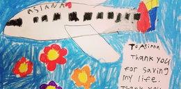 Załoga samolotu uratowała 8-latkę. Urocze podziękowanie