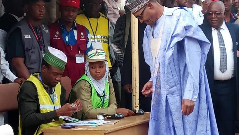 President Buhari, wife votes1
