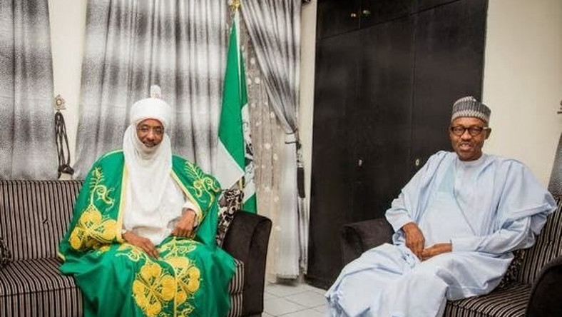 Emir of Kano, Sanusi Lamido Sanusi pays congratulatory visit to President-elect, Muhammadu Buhari on April 21, 2015. (Vanguard)
