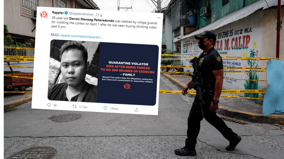 Okrutne kary za złamanie godziny policyjnej w Filipinach