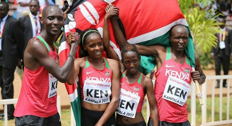 Kenya's victorious mixed relay team from left: Asbel Kiprop, Beatrice Chepkoech, Winnie Mbithe and Bernard Koros on March 26, 2017.
