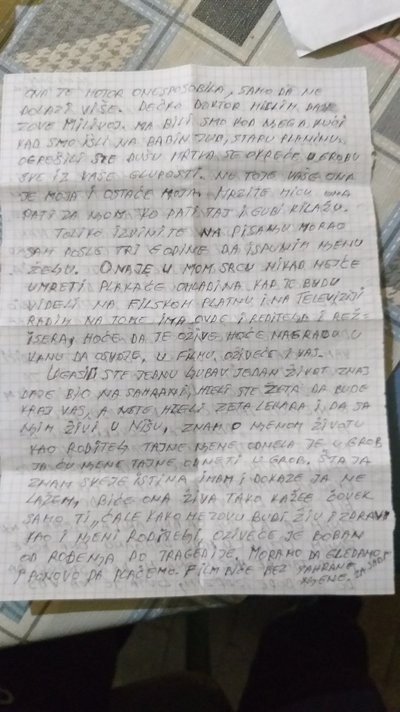 Drugi deo pisma koje je ubica poslao