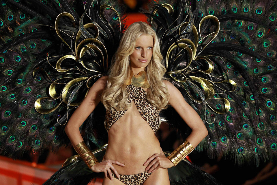 Model Karolina Kurkova presents a creation during the Victoria's Secret Fashion Show in New York
