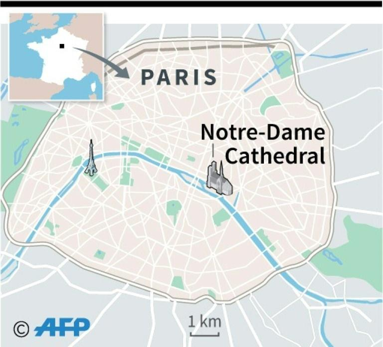 Map locating Notre-Dame cathedral in Paris