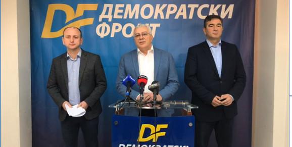 Demokratski front: Milan Knežević, Andrija Mandić i Nebojša Medojević