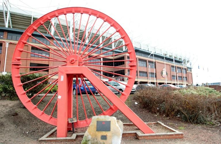 A pit wheel in front of the Stadium of Light. The city's pride now rests on its football team