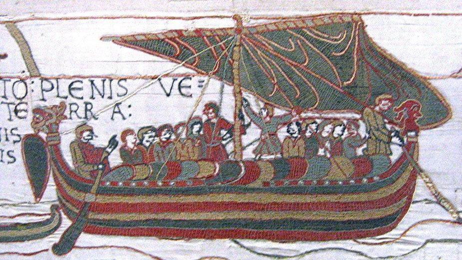 Długa łódź wikińska, wizerunek z Tkaniny z Bayeux (fot. Urbanᚨ, opublikowano na licencji Creative Commons Attribution-Share Alike 3.0 Unported)