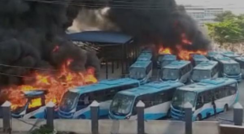 TVC, BRT buses, NPA set on fire, youths dare soldiers in Lagos as anarchy engulfs Nigeria