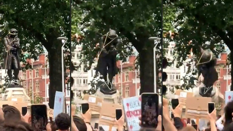 A combination of images  from a William Want video shows protesters pulling down a statue of slave trader Edward Colston in Bristol during Sunday's demonstration