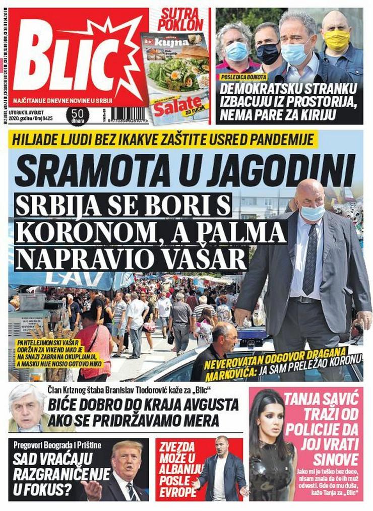 Blic naslovna za 11.08.2020.