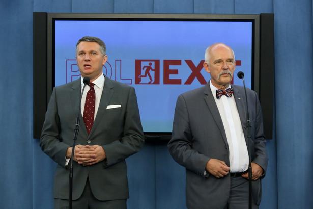 Prezes partii KORWiN, europoseł Janusz Korwin-Mikke i wiceprzewodniczący Przemysław Wipler