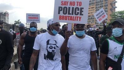 Top Nigerian celebrities Runtown, Falz, Tiwa Savage, Tacha, Paul Okoye lead #ENDSARS protest in Lagos