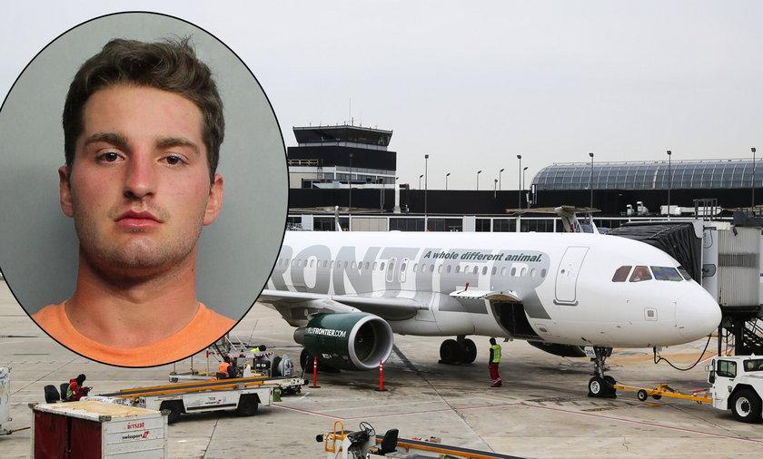 Szokujące sceny na pokładzie samolotu.22-latek obezwładniony przez pasażerów taśmą klejącą. FILM