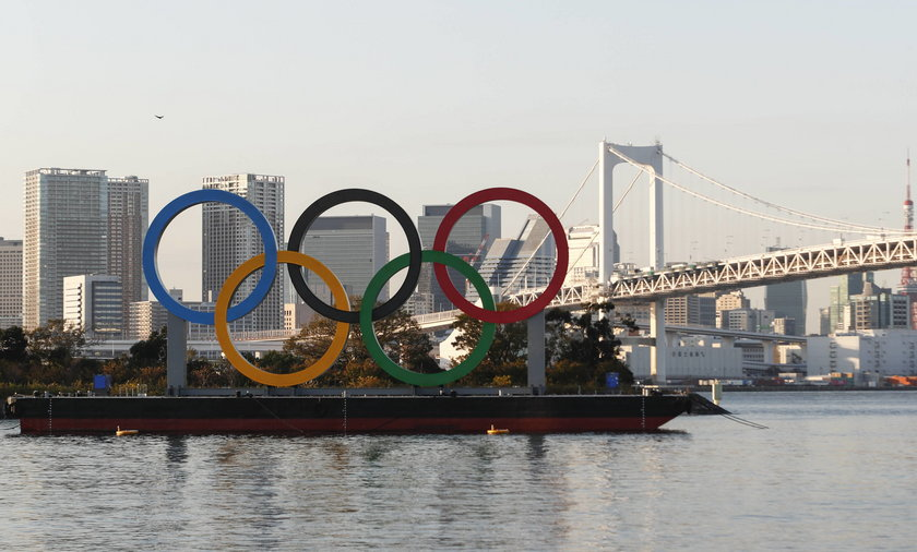Olympic rings are reinstalled at Tokyo's waterfront Odaiba Marine Park