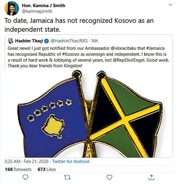 Hašim Tači i Vljora Čitaku objavili vest da je Jamajka priznala Kosovo, ali je ministarka spoljnih poslova te zemlje Kamina Džonson Smit samo nekoliko sati kasnije to oštro demantovala