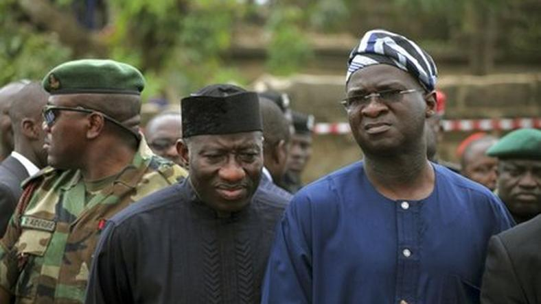 Former President Goodluck Jonathan and Minister of Power, Works and Housing, Babatunde Fashola