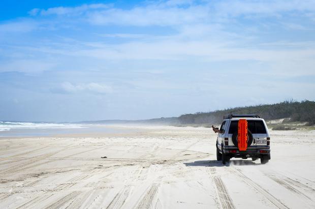 Przejażdka po plaży wyspa Moreton
