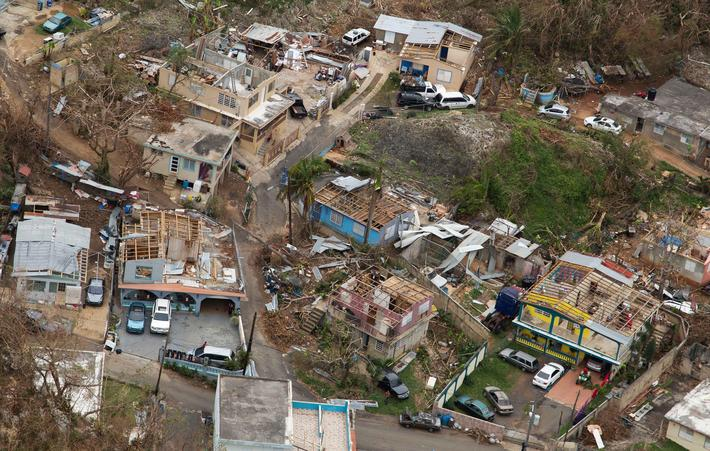 Aerial View of Damage after Hurricane Maria in Puerto Rico