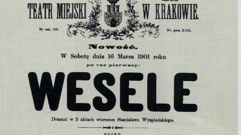 Pkakat premiery Wesela z 1901 roku