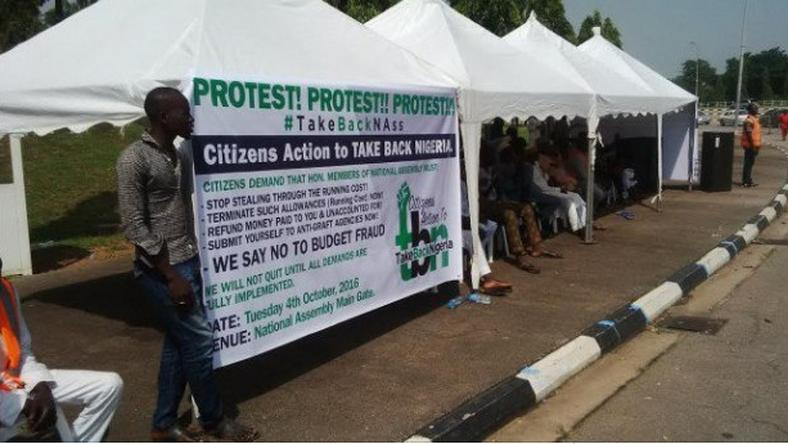 Protesters at National Assembly in Abuja