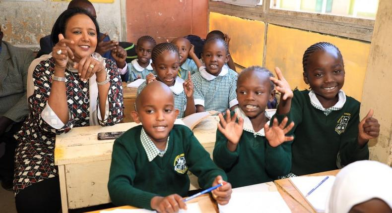 Education CS Amina Mohamed participating during a lesson at Harambee Primary School