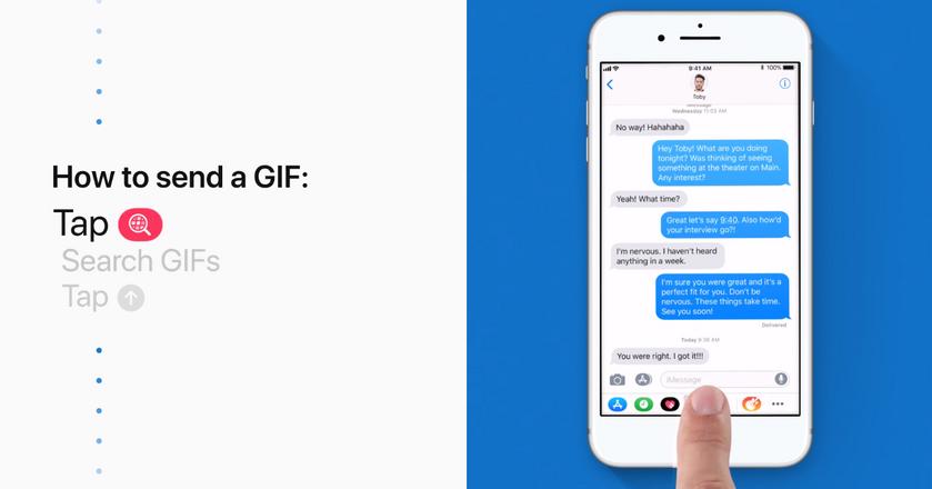 Apple pokazuje m.in. jak przejść do wyboru gifów z poziomu klawiatury, czy też jak zainstalować aktualizację systemu
