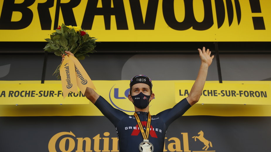 Michał Kwiatkowski na podium Tour de France