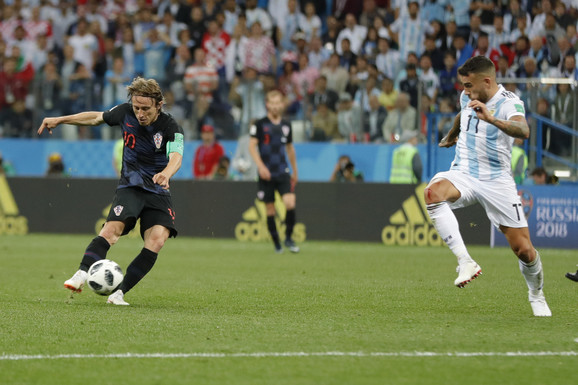 Luka Modrić postiže gol na meču Hrvatska - Argentina
