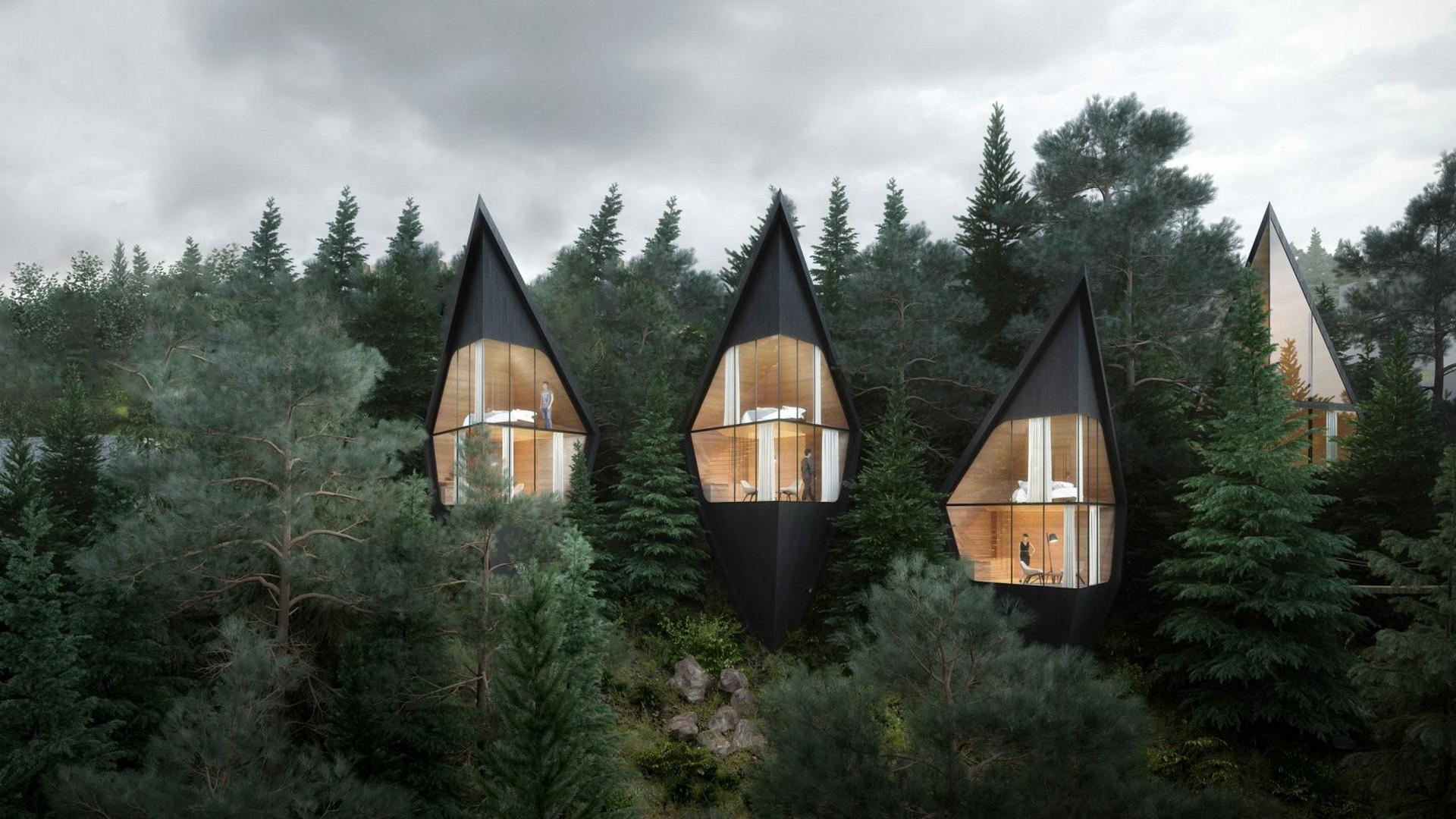 4d8d8bc46ccae9 Domki hotelowe, które wtapiają się w jodły i modrzewie. Poznajcie projekt  Tree House