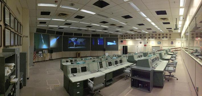 Mission Operation Control Room 2 in the Christopher C. Kraft Jr. Mission Control Center at NASA's Johnson Space Center in Houston
