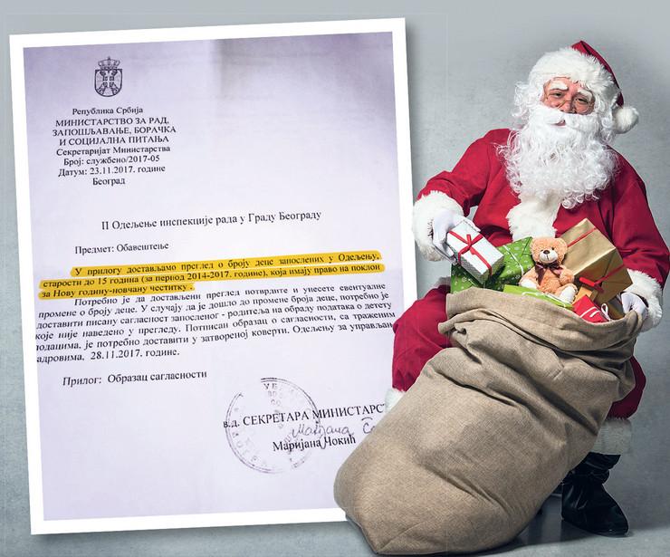 grafika deda mraz pokloni odelenje inspekcije rada u gradu beogradu foto RAS
