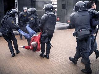 Police detain demonstrators at Minsk opposition protest in Belarus