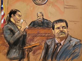 "Andrea Velez, a former associate of Joaquin ""El Chapo"" Guzman, reads an impact statement in this court sketch during a sentencing hearing for Guzman in New York City"