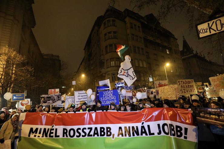 Mađarska protest, Viktor Orban, EPA -  BALAZS MOHAI