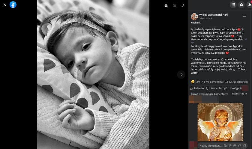 Kielce. Hania Terlecka nie żyje. 3-latka przegrała walkę z ciężką chorobą