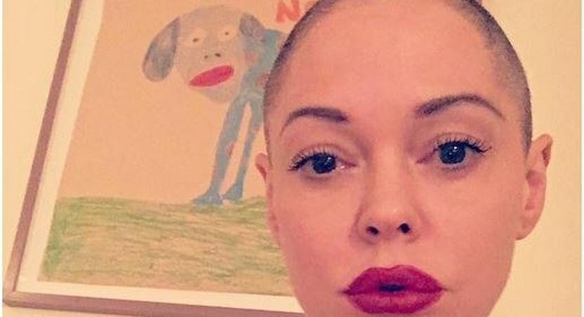 Rose McGowan goes bald