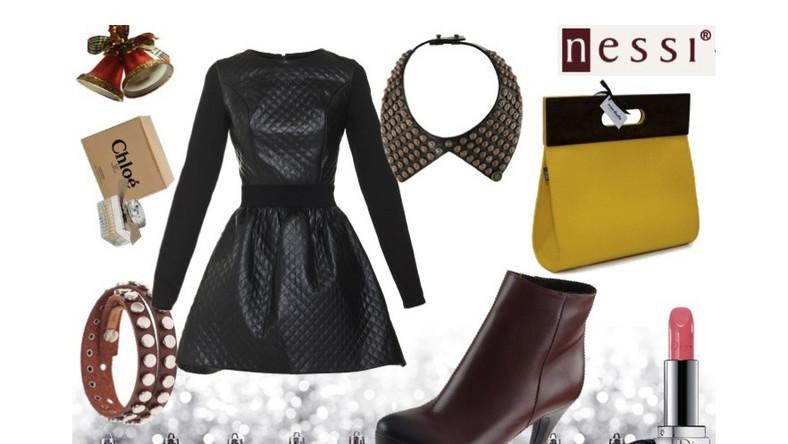 W tym sezonie modne są pikowane sukienki, spódnice, bluzki, a nawet spodnie. Prosta, czarna sukienka z łączonych materiałów świetnie będzie pasowała do brązowych botów z cieniowanym noskiem oraz żółtej torebki, która ożywi tę stylizację