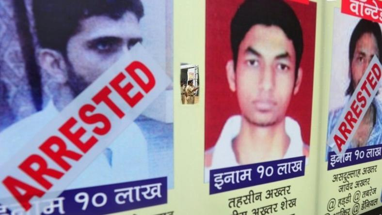 A poster in Mumbai in 2013 of alleged militants Yasin Bhatkal (left) and Asadullah Akhtar