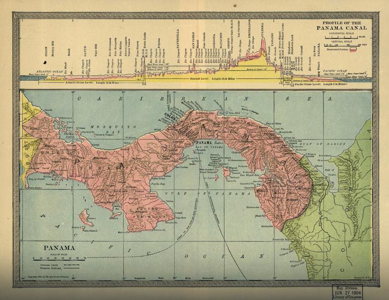 Mapa Panamy z oznaczonym Kanałem Panamskim w budowie, 1904 r., fot. Americana Company/Bormay & Co/Library of Congress