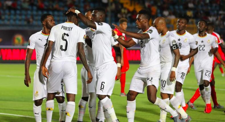 Black Stars celebrate goal against Guinea Bissau