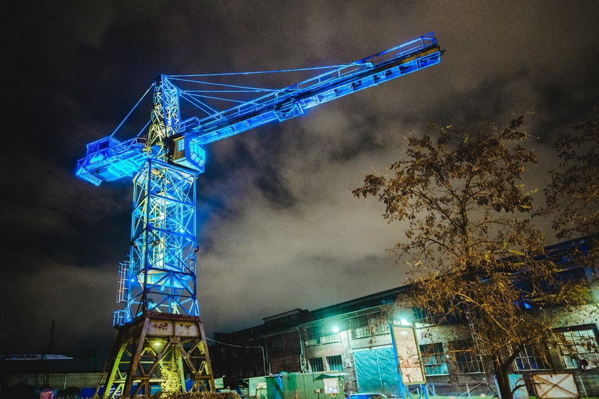 Gdańsk podświetlony na niebiesko.