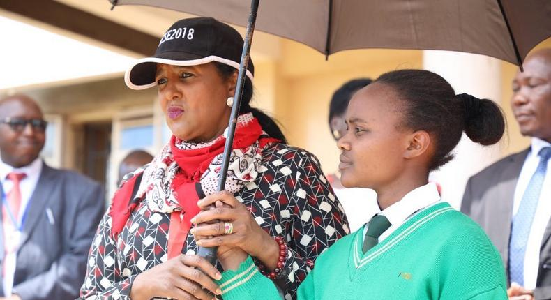 Education CS Amina Mohamed at a girls school during the 2018 KCSE exam (Twitter)