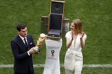 Natalija Vodjanova i Iker Kasiljas, legendarni španski golman,  pred sam početak ceremonije otvaranja Mundijala 2018 u Rusiji