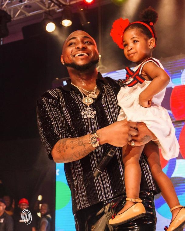 Davido and Daughter, Imade at the 30 Billion Concert