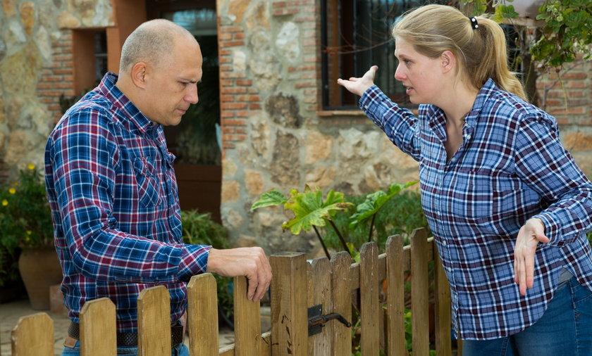 Neighbors quarrelling. Neighbor quarrel.