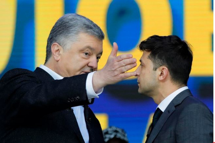 Petro Porošenko i Volodimir Zelenski AP