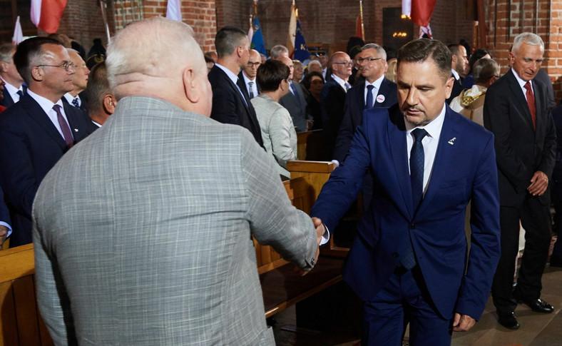"""Były prezydent Lech Wałęsa i przewodniczący NSZZ """"Solidarność"""" Piotr Duda"""
