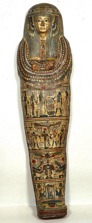 Kartonaż z mumią Asetemachbit - płótno, polichromia, Egipt, XXII–XXIII dynastia (IX w. p.n.e.)