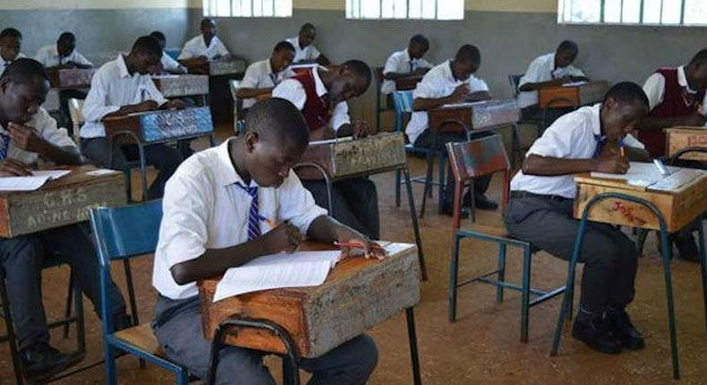 KCSE candidates in an exam room