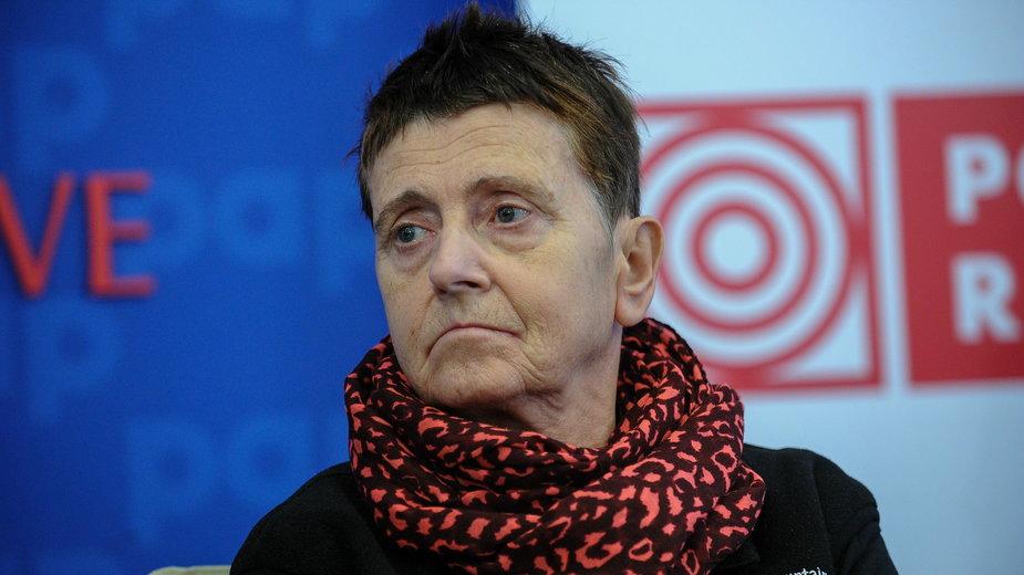Anna Czerwińska podczas konferencji prasowej w 2016 r.